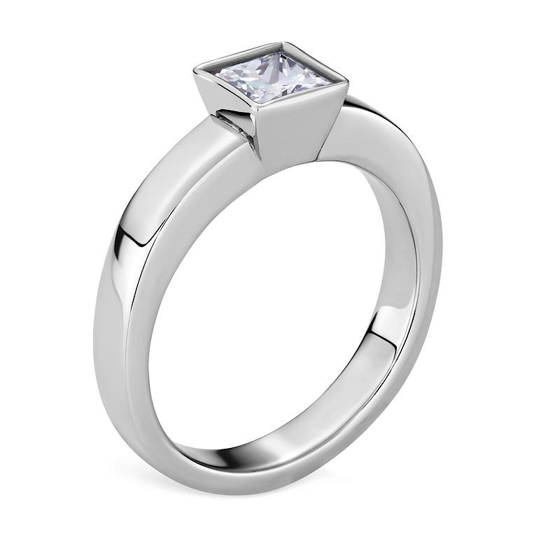 Smales Diamond Engagement Ring Princess Cut in White Gold