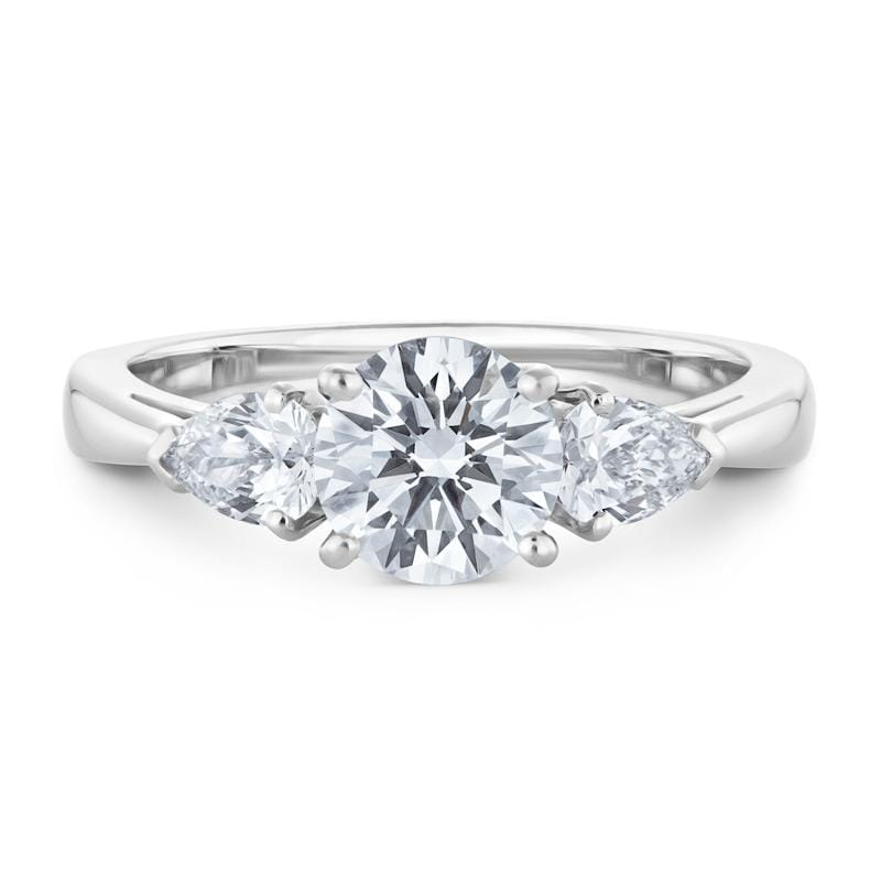 Three-Stone Diamond Engagement Ring in White Gold Perth Jewellery