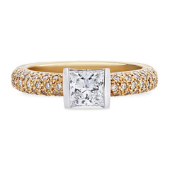 Smales Princess Cut Diamond Engagement Ring in Two-Tone Gold Perth