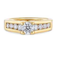 Diamond Engagement Ring with Sidestones in Yellow Gold