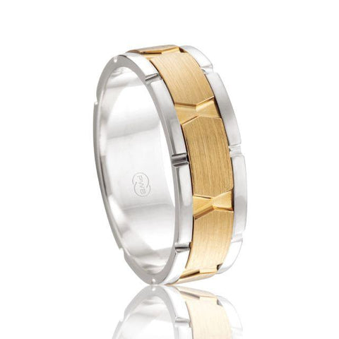 Peter W Beck 18ct Two Tone Fancy Wedding Band