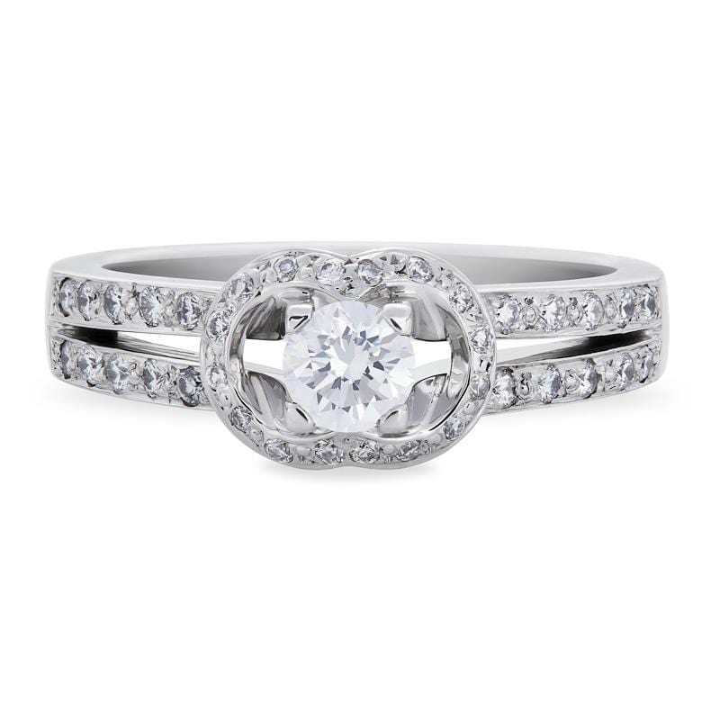 Smales Diamond Engagement Ring with Sidestones in White Gold
