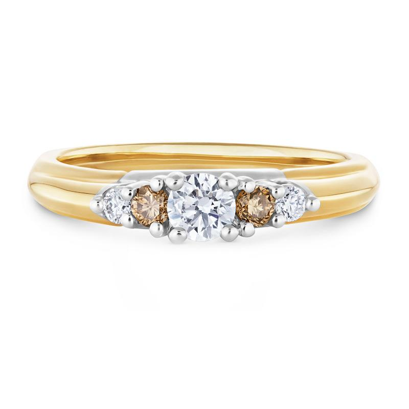 Smales White & Cognac Diamond Engagement Ring in Yellow Gold
