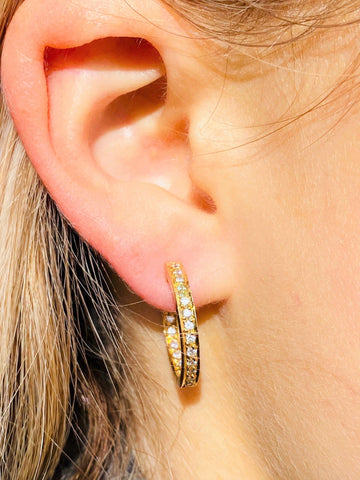 Diamond Hoop Earrings in Yellow Gold