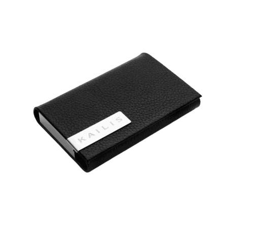 Linear Black Leather Business Card Holder