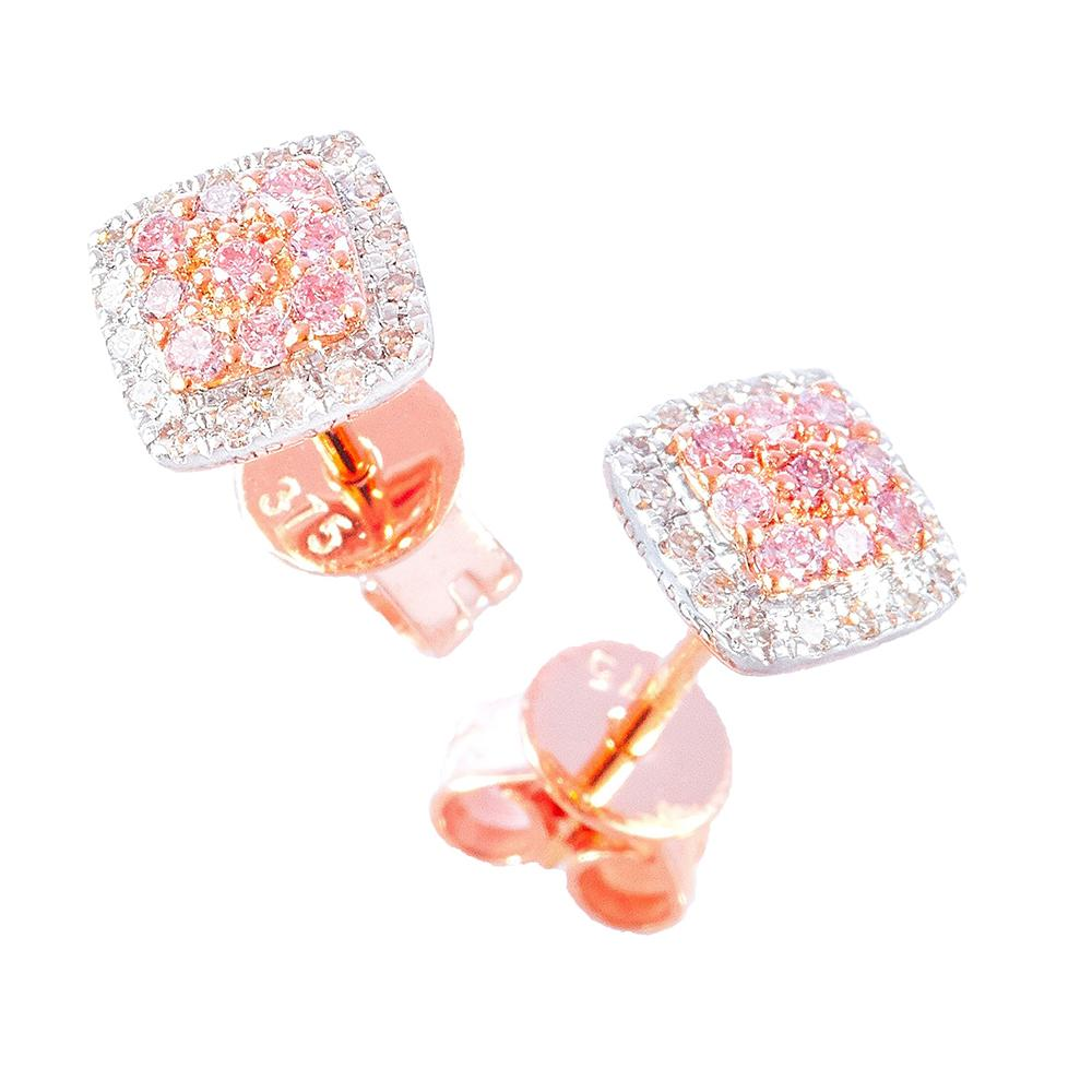 Pink Agyle Diamond Square Stud Earrings in Rose Gold