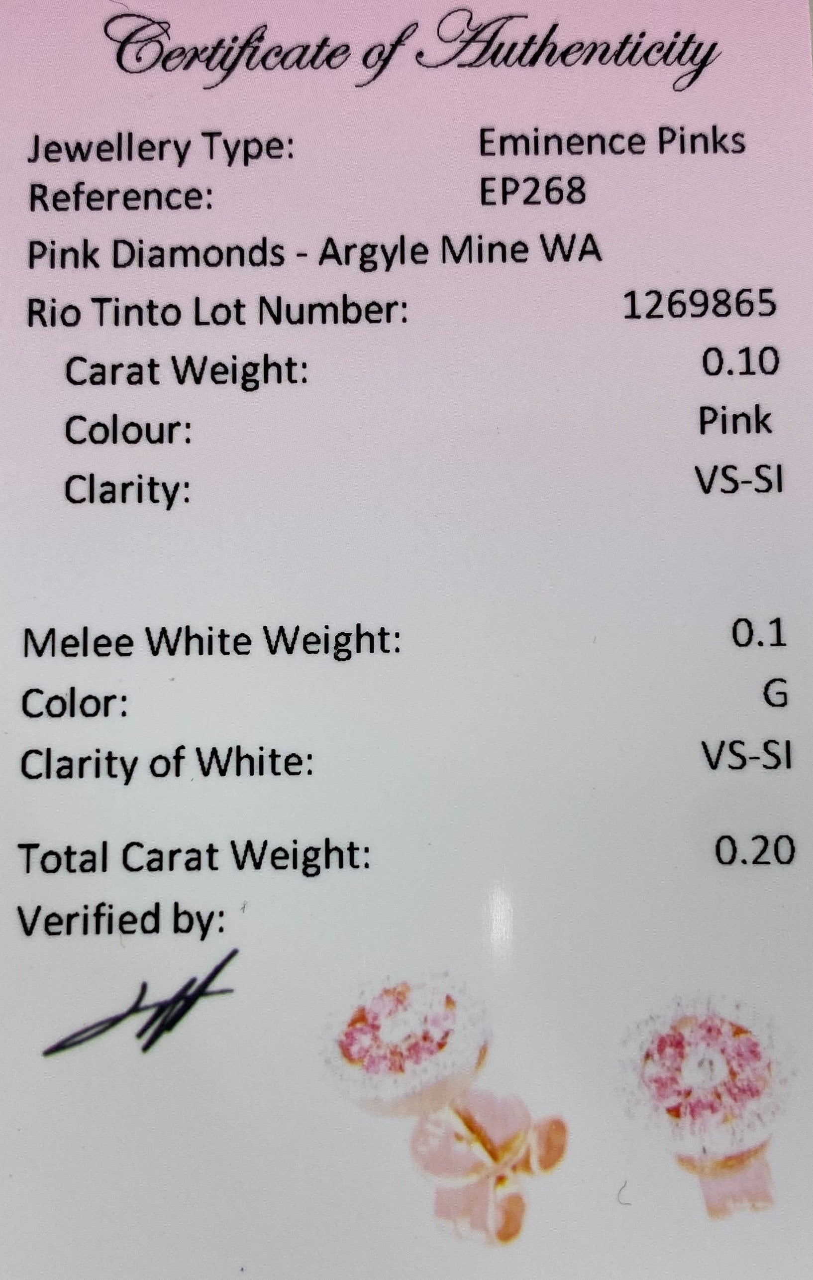 Mon Petit Pink Diamond Collection - Certified Argyle Pink Studded Earrings Certification