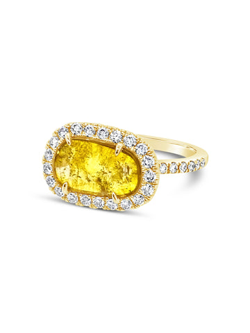 Translucent Yellow Slithered Diamond Ring