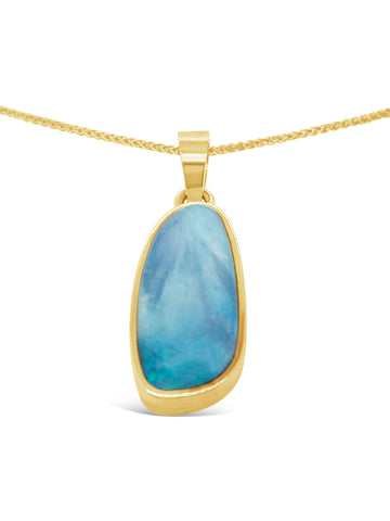 18ct Light Blue Opal Pendant