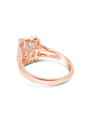 Radiant Cut Rose Quartz Diamond Ring