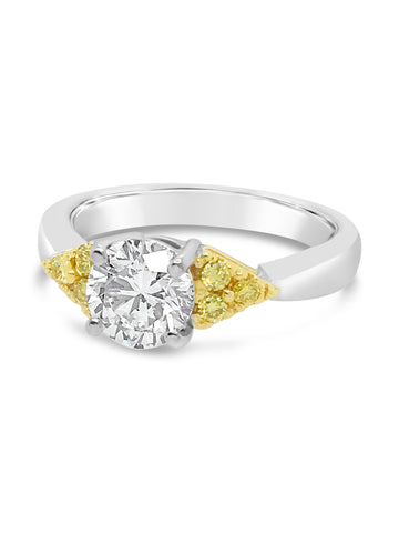 Yellow & White Diamond Engagement Ring from Smales Jewellers, Handcrafted and One of a Kind with a 1.01 Carat Center Diamond