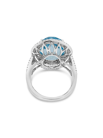 Handmade Topaz and Diamond Ring with Basket detail in white gold