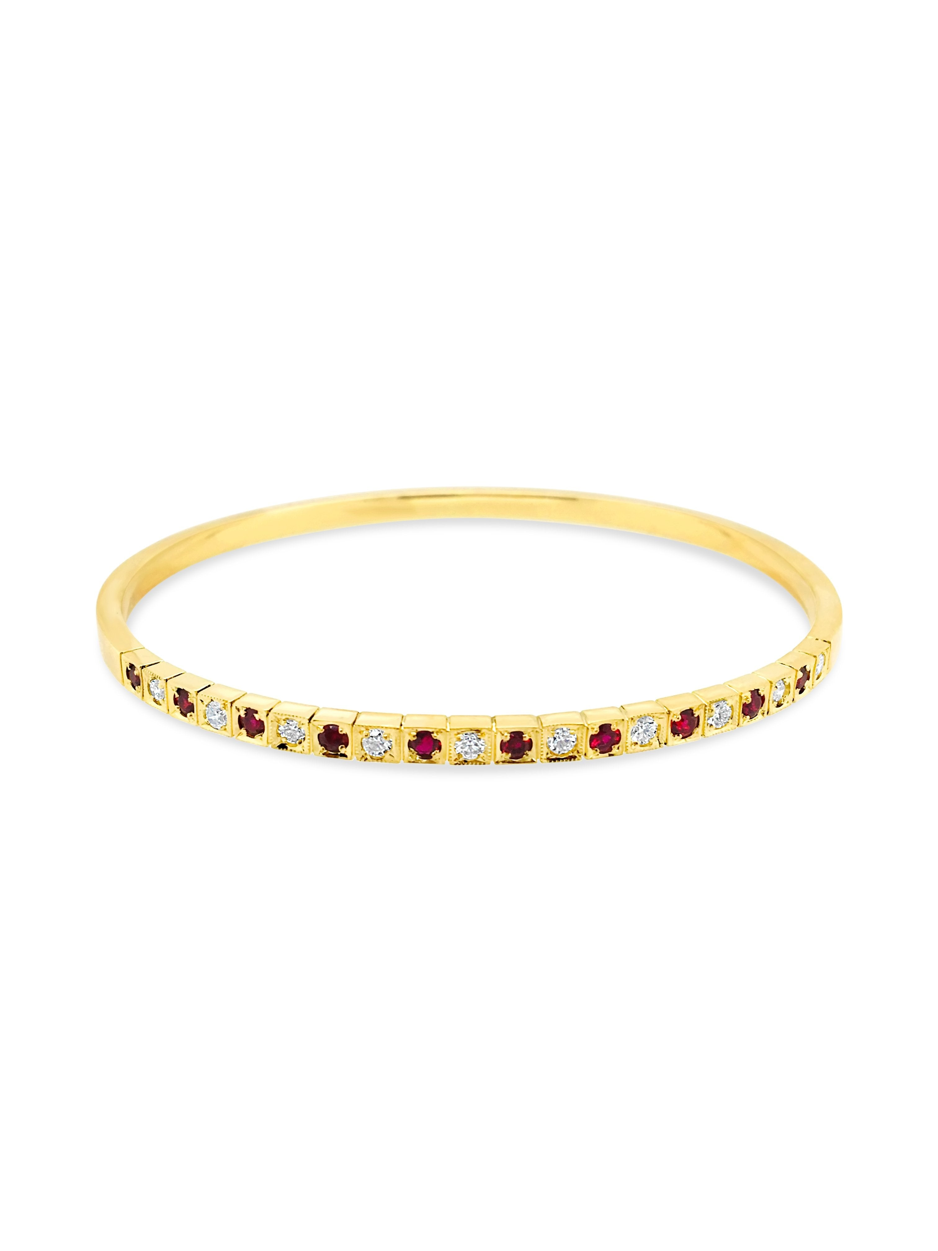 Ruby and Diamond Solid Gold Bangle