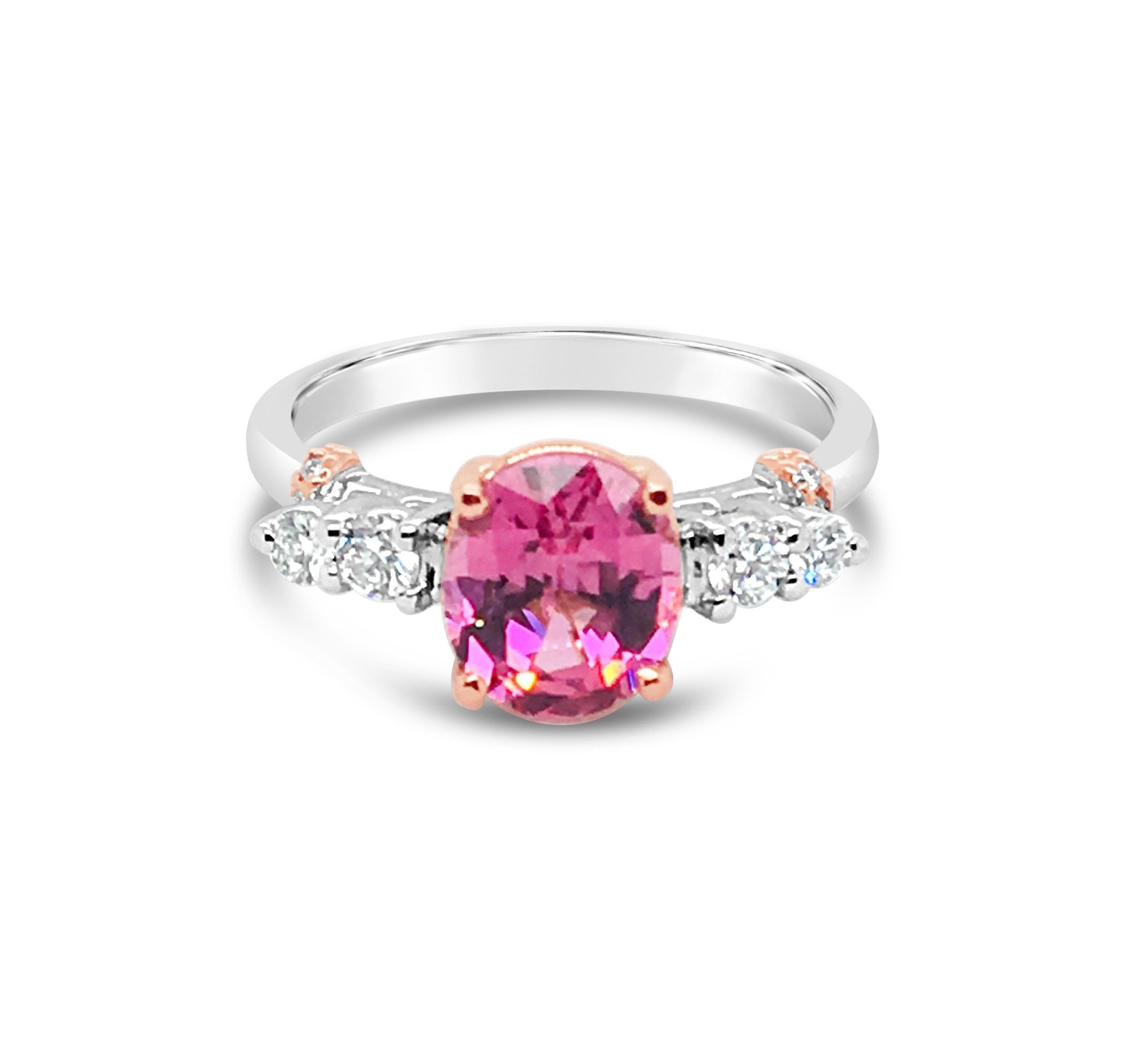 Flamingo Pink Spinel and Diamond Ring