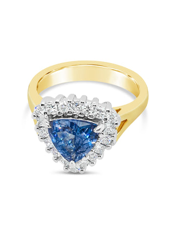 Ocean Blue Sapphire and Diamond Ring