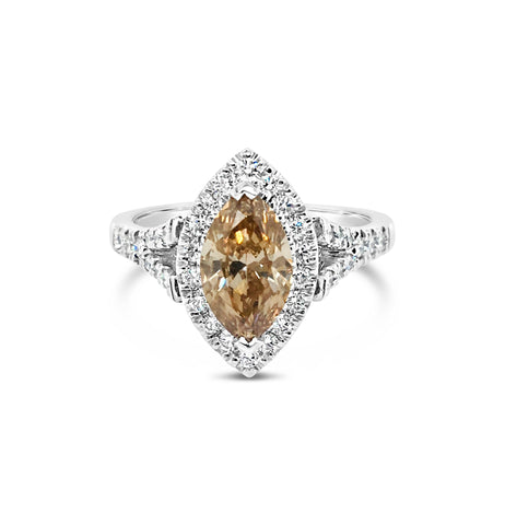 Champagne Marquise Cut Diamond Ring