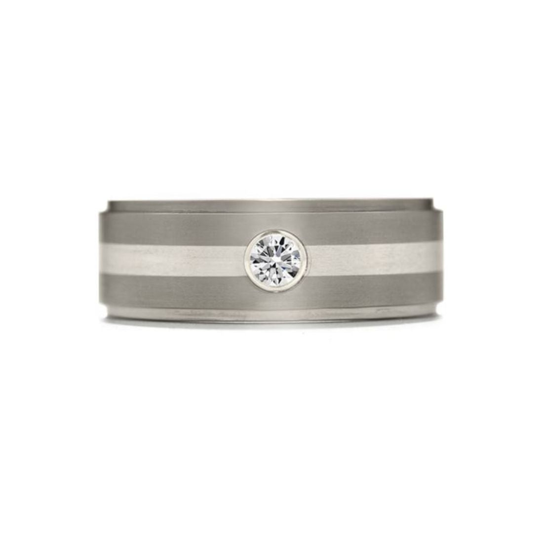 Hearts on Fire Men's Commanding Grey Diamond Inlay Step Band