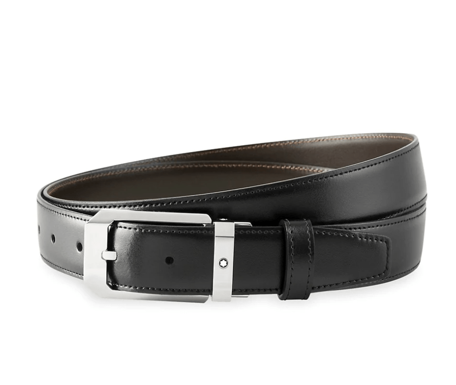 Montblanc Rectangular Stainless Steel & Black Leather Pin Buckle Belt