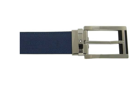 Montblanc Rectangular Stainless Steel & Black Blue Leather Pin Buckle Belt