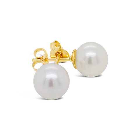 Smales Cultured Pearl Stud Earrings Yellow Gold
