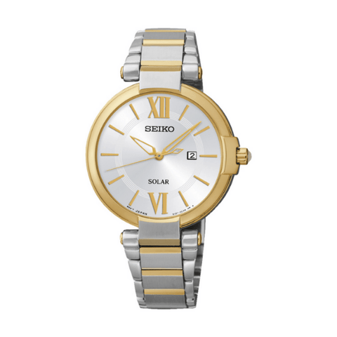 Seiko Ladies Dress Watch Gold Bezel