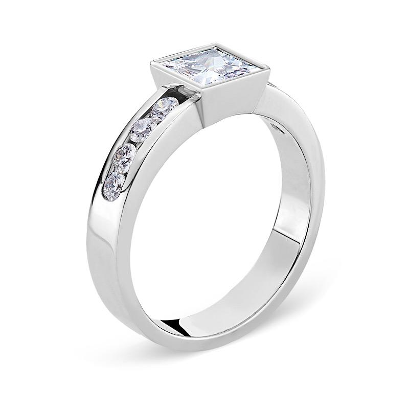 Smales Square-cut Diamond Engagement Ring in White Gold Perth