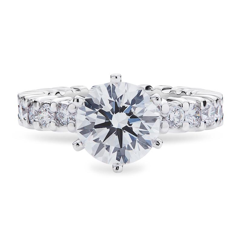 Smales Diamond Engagement Ring With Diamond Band in 18ct White Gold