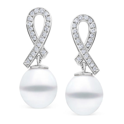 South Sea Pearl & Diamond Drop Earrings in White Gold