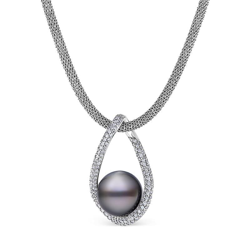Tahitian Pearl & Diamond Pave Pendant in White Gold