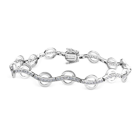 Diamond Bracelet with Circle Design in White Gold Perth
