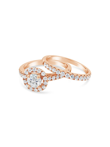 Smales Handcrafted  Rose Gold Angelic Ring Set - Diamond Band