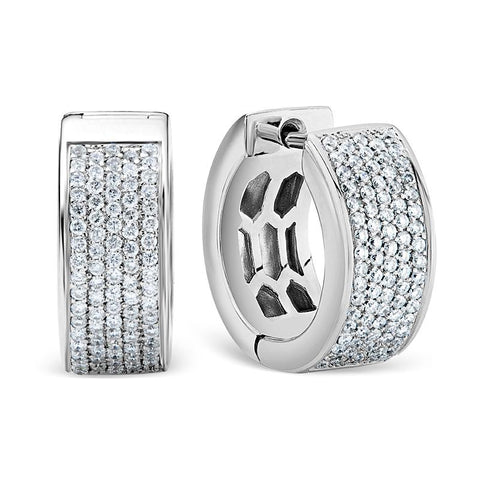 Diamond Huggie Earrings in White Gold Perth