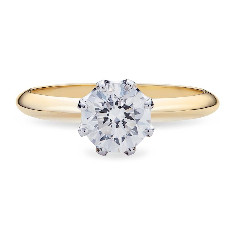 Solitaire Diamond Engagement Ring in Two-Tone Gold