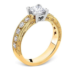 Smales Diamond Engagement Ring with Sidestones in Two-Tone Gold