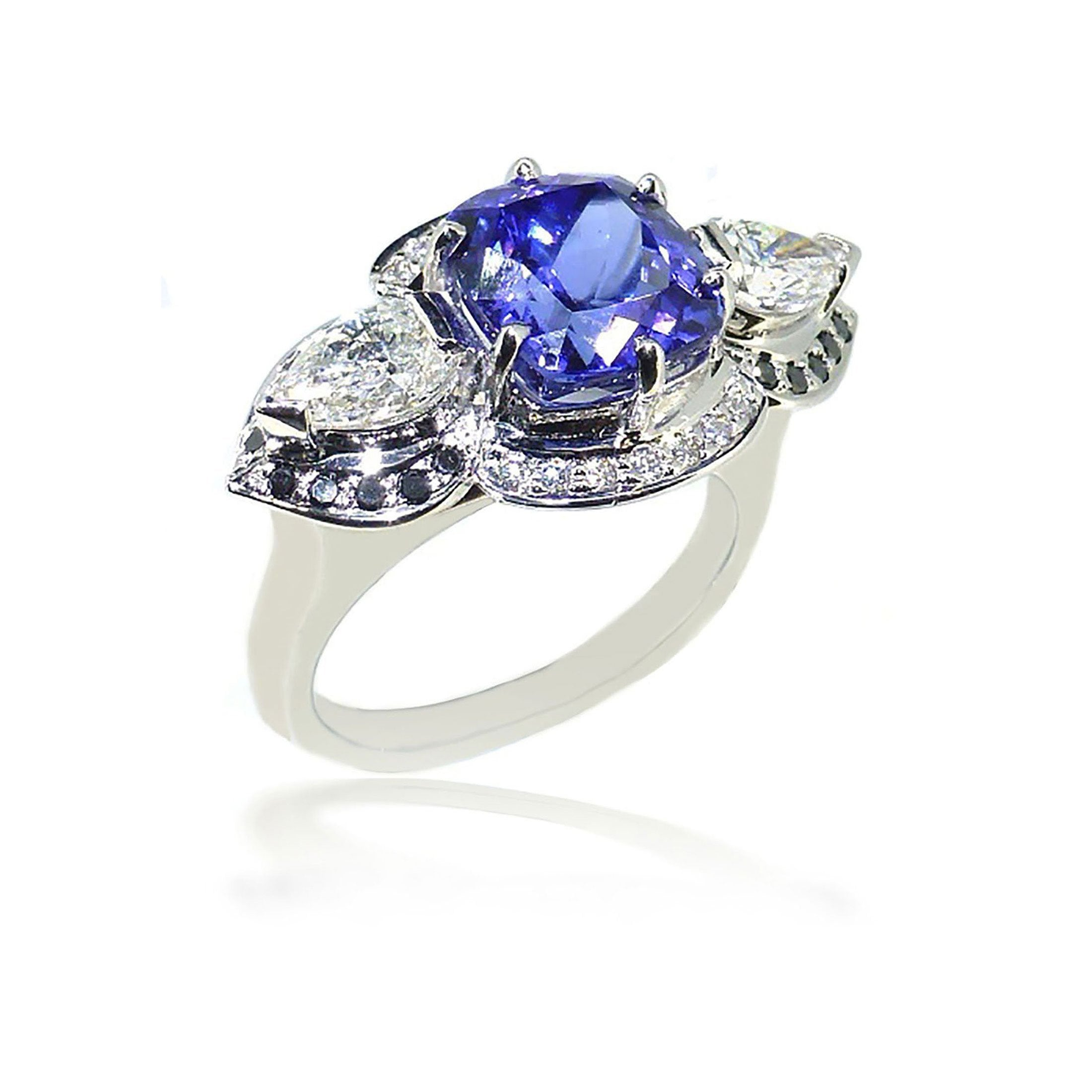 diamond ring gold tanzanite white and