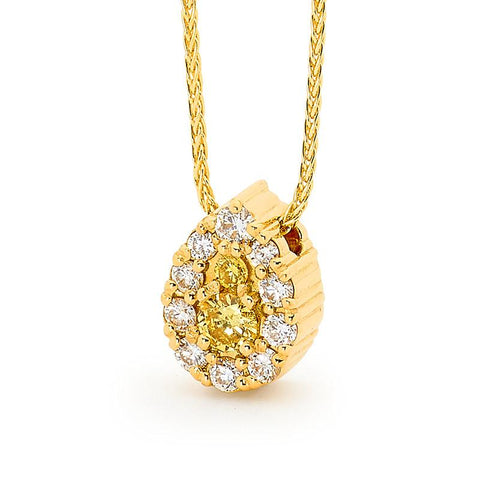 Smales Fancy Yellow & White Pear-Shape Diamond Pendant in Yellow Gold