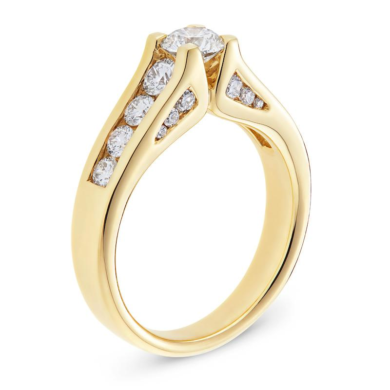 Diamond Engagement Ring with Sidestones in Yellow Gold Perth