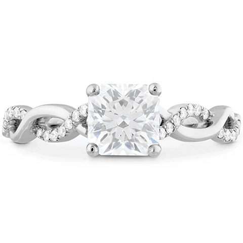 Princess Cut Diamond Ring with White Gold and Diamond Twist Band