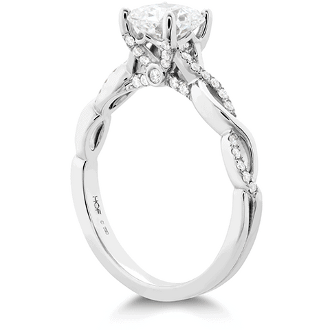 Hearts on Diamond Engagement Ring, with Diamond Twist Band