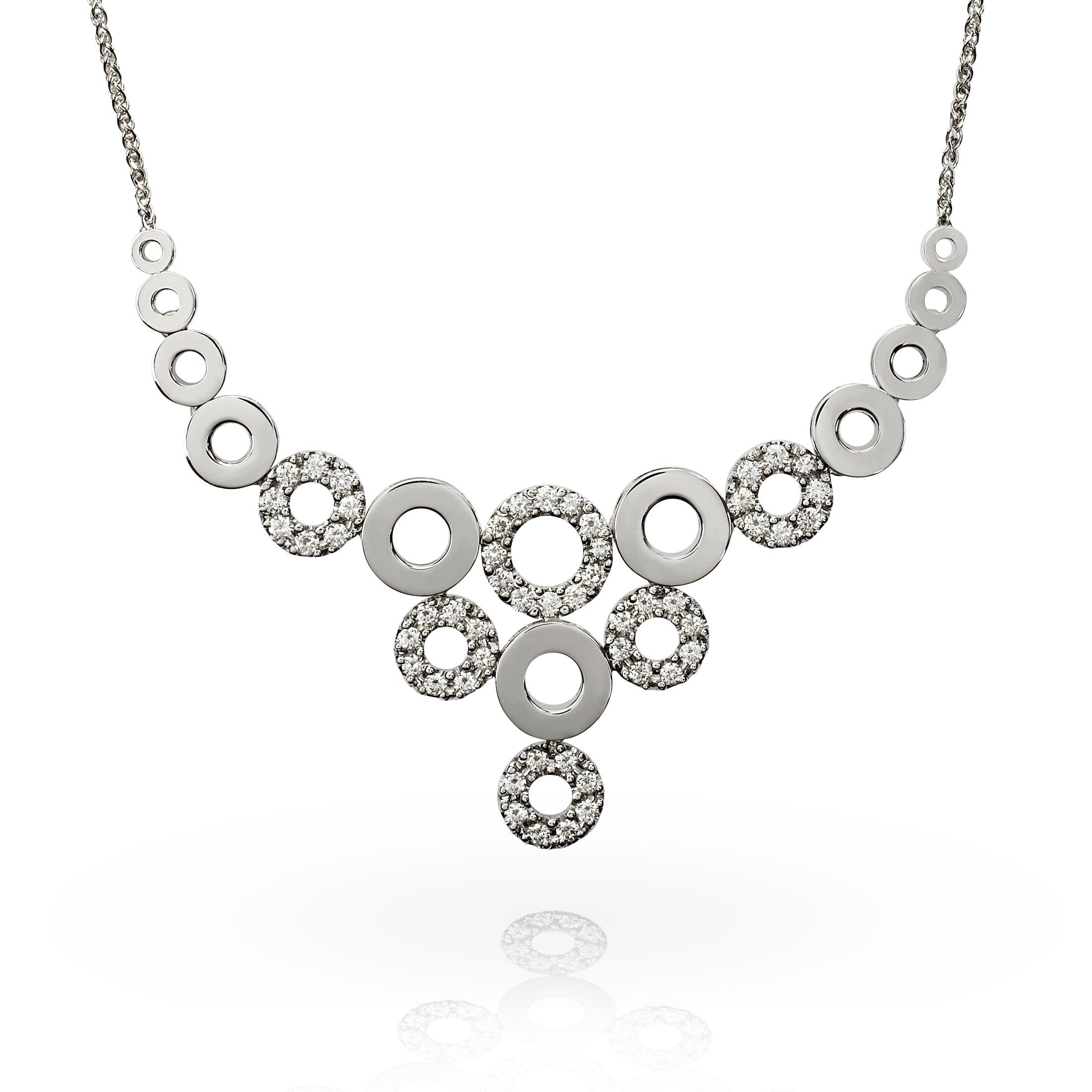 Smales 18ct White Gold Diamond Multi Circle Necklace