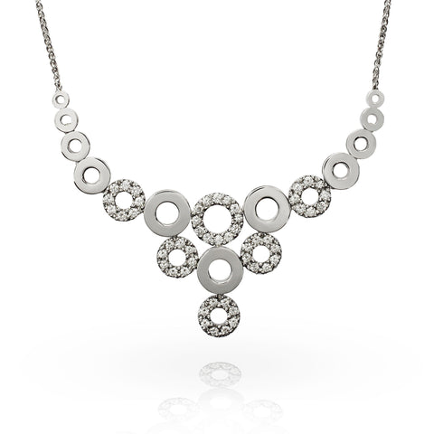 Smales 18ct White Gold Diamond Multi Circle Necklace Perth