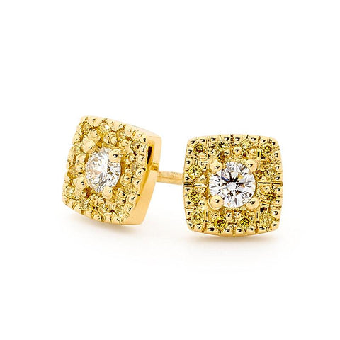 Smales 18ct Gold Fancy Yellow & White Diamond Stud Earrings