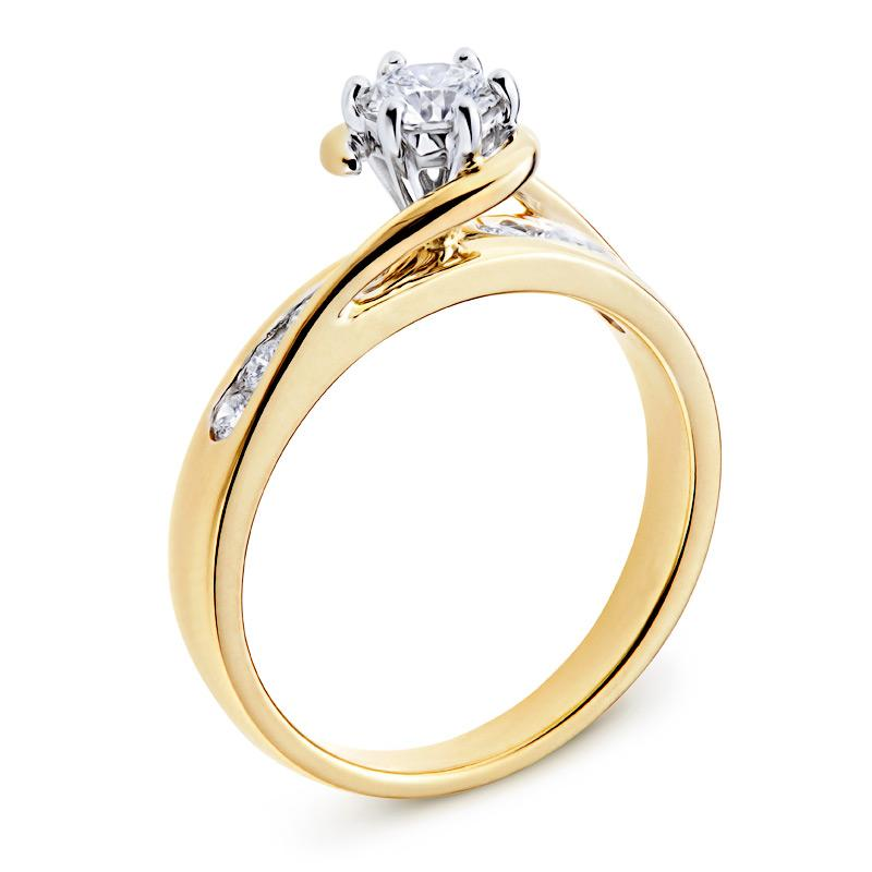 Diamond Engagement Ring with Side-stones in Yellow Gold Perth