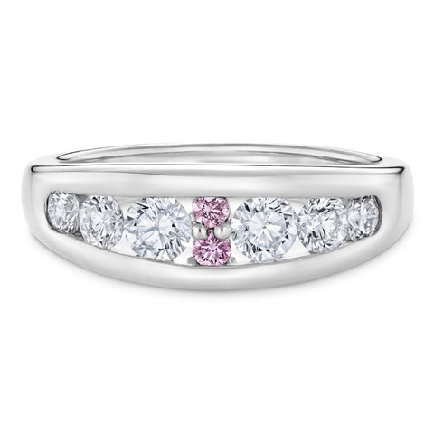 Smales Pink & White Diamond Ring in White Gold