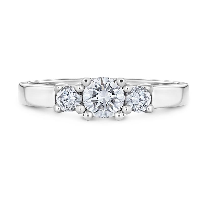 Smales Three-Stone Diamond Engagement Ring in White Gold