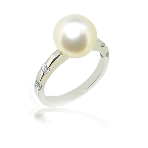 Smales South Sea Pearl & Diamond Ring in White Gold
