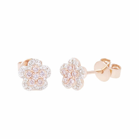 Mon Petit Pink Diamond Collection - Certified Argyle Pink Flower Studded Earrings