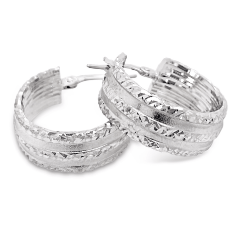 Smales Satin Diamond Cut Hoop Earrings