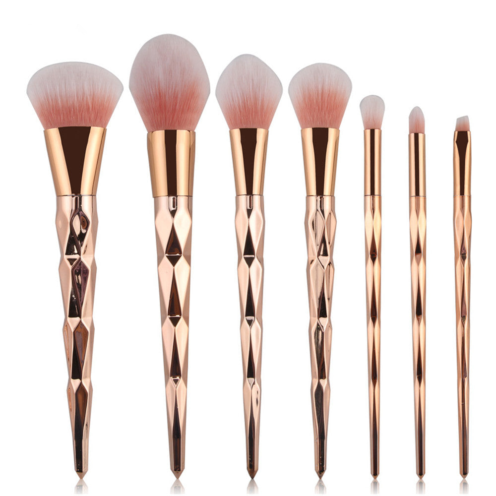 7/8 Pcs Diamond Rose Gold Makeup Brush Set.