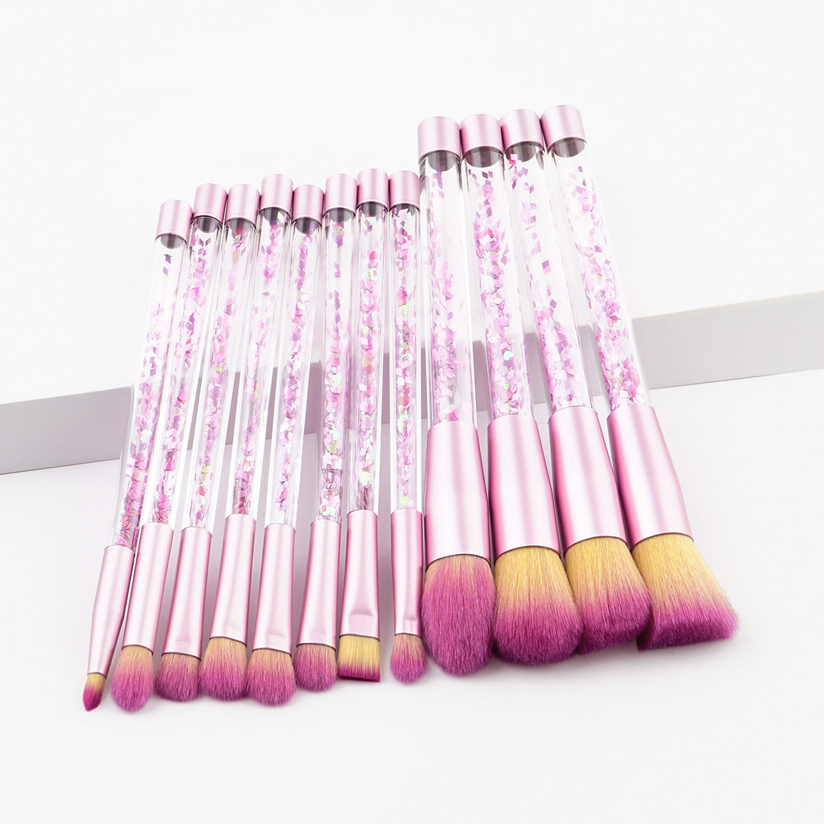 7/12Pcs Crystal Glitter Makeup Brush Set.